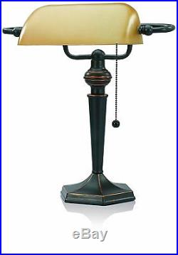 Bankers Desk Lamp Vintage Antique Bronze Amber Glass Shade Light Art Deco Table