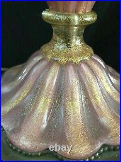 Barovier & Toso Murano'Cordonato d'Oro' Gold leaf & Pink Glass Table Lamp