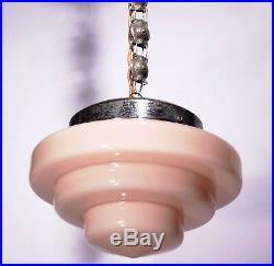 Bauhaus Pendant Lamp 30s Art Deco Opaline Glass Chandelier French Geometric Pink