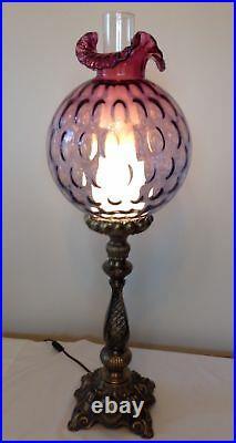 Beautiful Fenton Art Glass Mulberry Coin Dot Optics Pillar Lamp