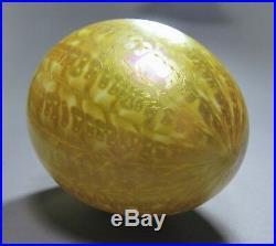 Beautiful Rare Antique QUEZAL Art Glass ZIPPER Globe Lamp Shade Signed ca. 1902