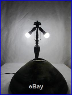 Beautiful Signed Jefferson Reverse Painted Lamp, Forest Scene At Night. C. 1910
