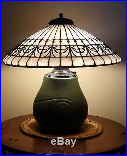 Bigelow & Kennard Hampshire Arts & Crafts Leaded Slag Stained Glass Table Lamp