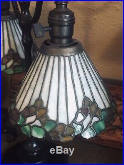 Bigelow & Kennard Lamp Slag Glass Leaded Shade Arts Crafts Handel Lamp Era