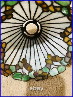 Bigelow & Kennard Leaded Lamp, Slag, Stained Glass Shade, Arts Crafts, Handel Lamp