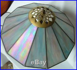 Bill Campbell Porcelain Art Pottery Lamp Stained Glass Shade Iridescent Blue