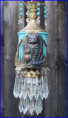 Black Cat Swag Lamp Chandelier brass tole glass Beaded crystal Art Deco Insp