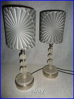 Black Pearls Vintage Satin Glass Art Deco Machine Age Lamps