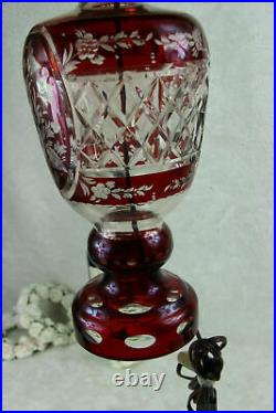 Bohemian Czech ruby red cut crystal glass floral lamp 1950