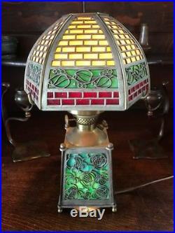 Bradley Hubbard Antique Vintage Arts Crafts Slag Glass Genie Lamp Handel era