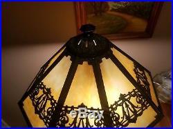 Bradley Hubbard Antique Vintage Arts Crafts Slag Glass Leaded Lamp Handel Era nr