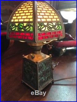 Bradley Hubbard Antique Vintage Arts Crafts Slag Glass Leaded Lamp Handel era