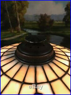 Bradley Hubbard Arts Crafts Antique Leaded Slag Glass Handel Era Lamp Base NR