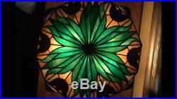Bradley Hubbard Arts Crafts Mission Leaded Slag Glass Antique Lamp Handel Era