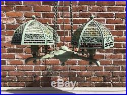 Bradley & Hubbard B&H Mission Arts Crafts Slag Glass Chandelier Antique Lamp