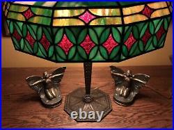 Bradley Hubbard Leaded Slag Glass Arts Crafts Vintage Antique Lamp Handel Era