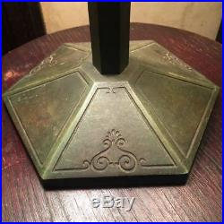 Bradley & Hubbard Prairie School 1910 Arts & Crafts green slag glass lamp NICE