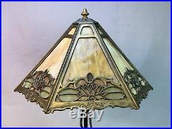 Bradley & Hubbard Slag Glass Lamp Iron Base Signed Shade 1920s Arts Crafts