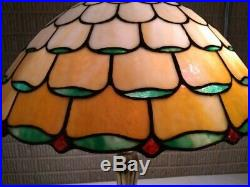 Bradley & Hubbard leaded glass lamp- Handel Tiffany Duffner arts craft era slag