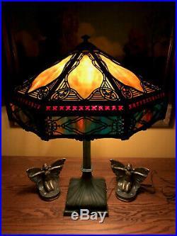 Bradley Hubbard slag glass arts crafts antique vintage lamp handel era