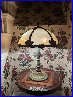 Bradley and Hubbard Art Deco/Handel Era Slag Glass Table Lamp