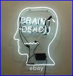 Brain Dead Neon Light Lamp Sign 24x20 Real Glass Decor Windows Open Artwork