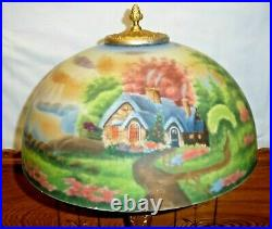 CC Co Carl Conrad Art Nouveau Style Lamp with Reverse Painted Glass Shade Cottage