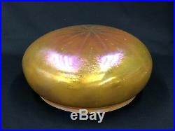 C. 1920s Rare Large Steuben 10 in Fitter 12 in Dome Iridescent Art Glass Shade