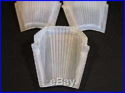 C. 1930 Lot 5 Frosted Art Deco Ribbed Glass Wall Sconce Ceiling Lamp Slip Shade