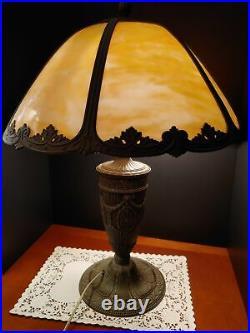 Caramel Slag glass lamp, Art Nouveau Era