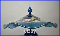 Charles Lotton Art Glass Table Lamp With Shade Cobalt Blue Rose Flora Signed 97