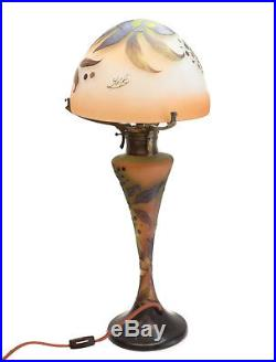Charming Emile Galle Art Glass Cameo Table Lamp, 4th Q. 19th Century