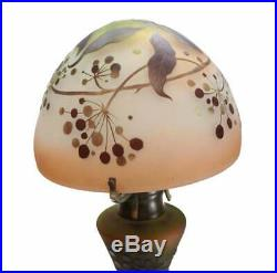 Charming Emile Galle Art Glass Cameo Table Lamp, Fourth Quarter of 19th Century