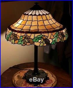 Chicago Mosaic Arts & Crafts Leaded Slag Stained Glass Acorn Lamp Handel Era