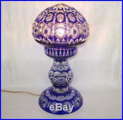 Cobalt Blue Cut To Clear Crystal Art Glass Lamp Vintage