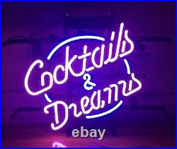Cocktails And Dreams Neon Lamp Sign 17x14 Bar Light Glass Artwork