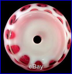 Coin Dot Cranberry Opalescent Glass Vase Fenton 1952 1451 Lamp Base 10.5 Inches