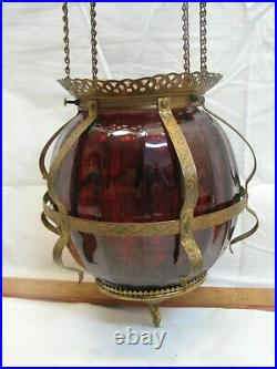 Cranberry Art Glass Shade Pendant Chandelier Ceiling Hall Light Lamp Electrified