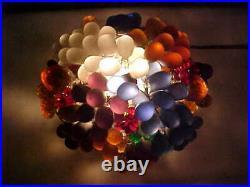 Czech Bohemian Art Glass Cast Glass BASKET of FRUIT Table Lamp Works