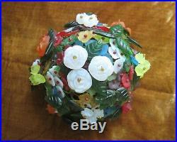 Czech Glass Flower Lamp Shade Vintage Art Deco 5 Ball Chandelier like fruit