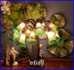 Dale Tiffany Lily Pad Tulip Lamp 15 Arm Lamp Green Amber Art Glass Shades