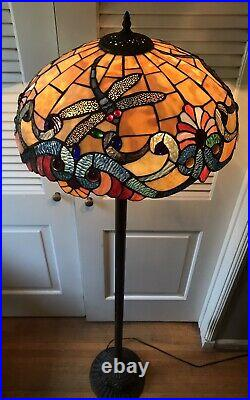Design Toscano Art Nouveau Tiffany Style Stained Glass Style Floor Lamp