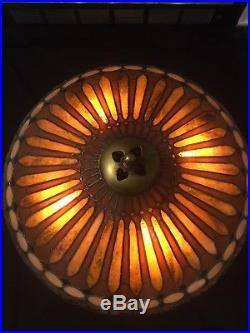 Duffner Kimberly Lamp, Leaded, Slag, Stained Glass Shade, Arts Crafts, Handel Lamp