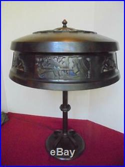 Duffner & Kimberly Mosaic Shade LAMP 1910 Art Nouveau Bronze and Fiery Glass
