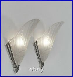 EJG PAIR OF 1930 FRENCH ART DECO WALL SCONCES. Lights 1925 lamp muller era