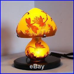 EMILE GALLE TABLE LAMP ART NOUVEAU STYLE FLOWERS L954 H 10.23in/D 8.66in