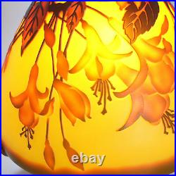 EMILE GALLE TABLE LAMP ART NOUVEAU STYLE FLOWERS L958 H 15.74in/D 7.08in
