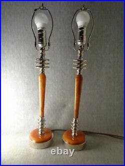 Early Art Deco Marbled Bakelite Lamps (pair) with Designer Shades- Machine Age