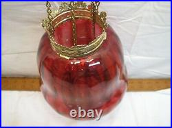 Early Cranberry Art Glass Shade Pendant Chandelier Ceiling Hall Light Lamp