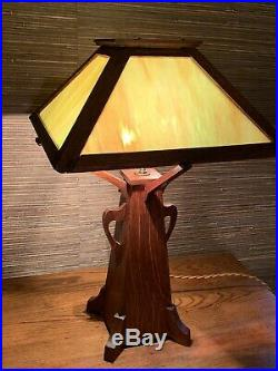 Early Handmade Antique Arts & Crafts Art Nouveau Mission Styled Stain Glass Lamp